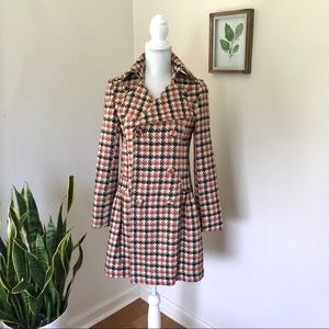 Vintage Houndstooth Double Breasted Coat